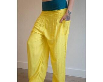Neon Yellow UV Burning Man Festival Rave Clothing  Aladin Thai Harem Haram Yoga Pants   Tribal Fusion   Gypsy Hippie   Belly Dance   Pyjamas