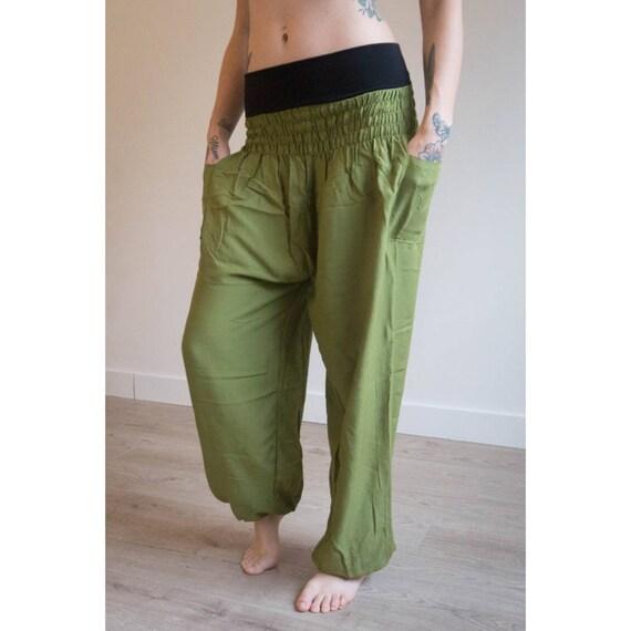Thai Hose * Haremshose * Haremshose * Sarouel * Yogahose * Pumphose * Reise * Gypsy * Hippie * Aladdin * Genie * Baumwolle * PS grün