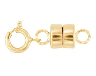 Round Magnetic Clasp With Spring Ring 14K, Yellow Gold 14K Magnetic Clasp, Strong Clasp