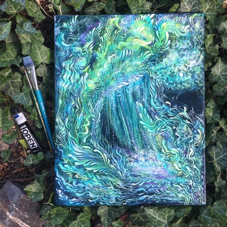 Waterfall painting Aurora Borealis inspired wall art image 0