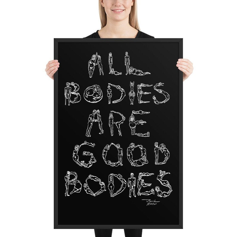 Body Positive Quote Framed Poster Body Positivity Wall Art image 0