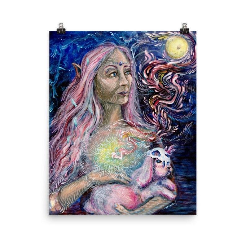 Moon Goddess Original Painting Moon Art Visionary art image 0