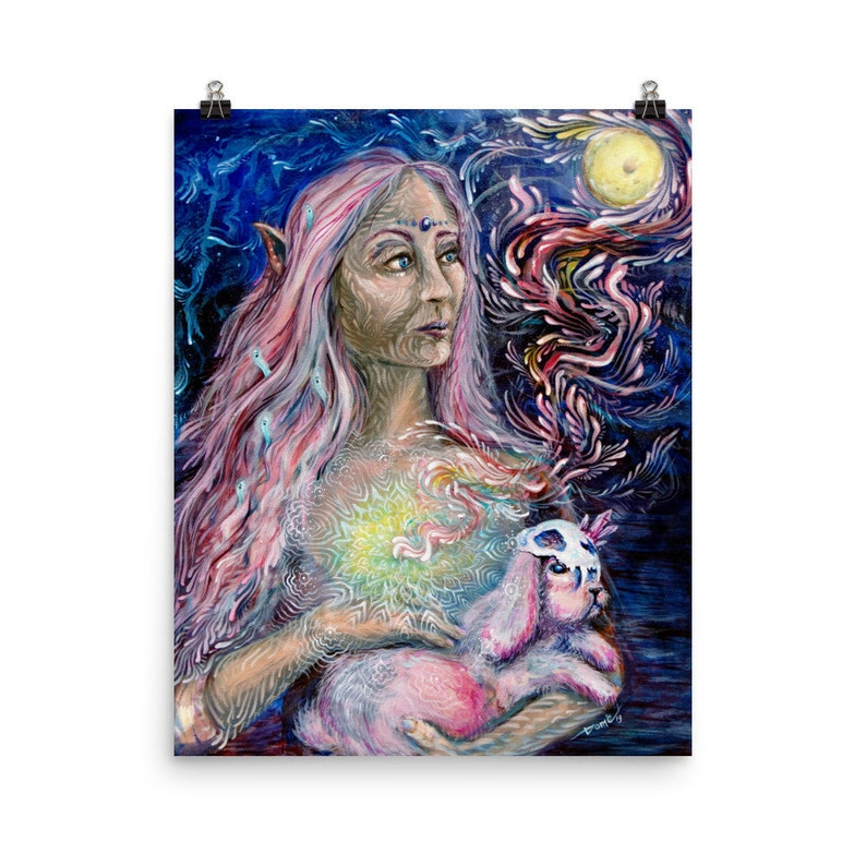 Fairy Painting Poster Print Moon Goddess Moon Art Heart image 0
