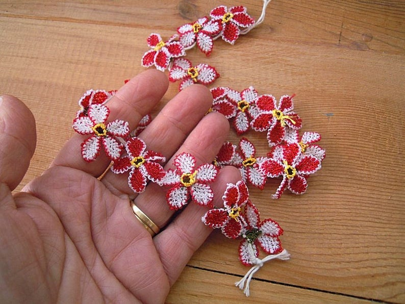 red oya flowers handmade turkish needle lace flower 20 pieces