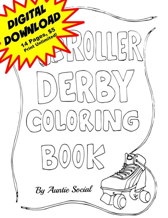 roller derby coloring book digital download
