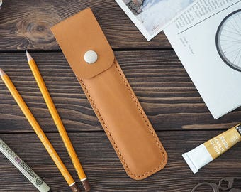 Leather Pencil Case. Handmade brown leather pencase. Light brown color.