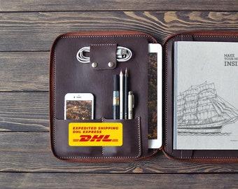 iPad 9.7 inch Leather folio. Personalized iPad Air organizer. 9.7' iPad Pro case.  Zipper leather folio. Dark brown color.