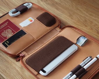 NEW iPad mini 6th Gen Leather case. Personalized Zipper leather folio. Handmade iPad mini 2021 case. Neutral color. Personalized iPad case