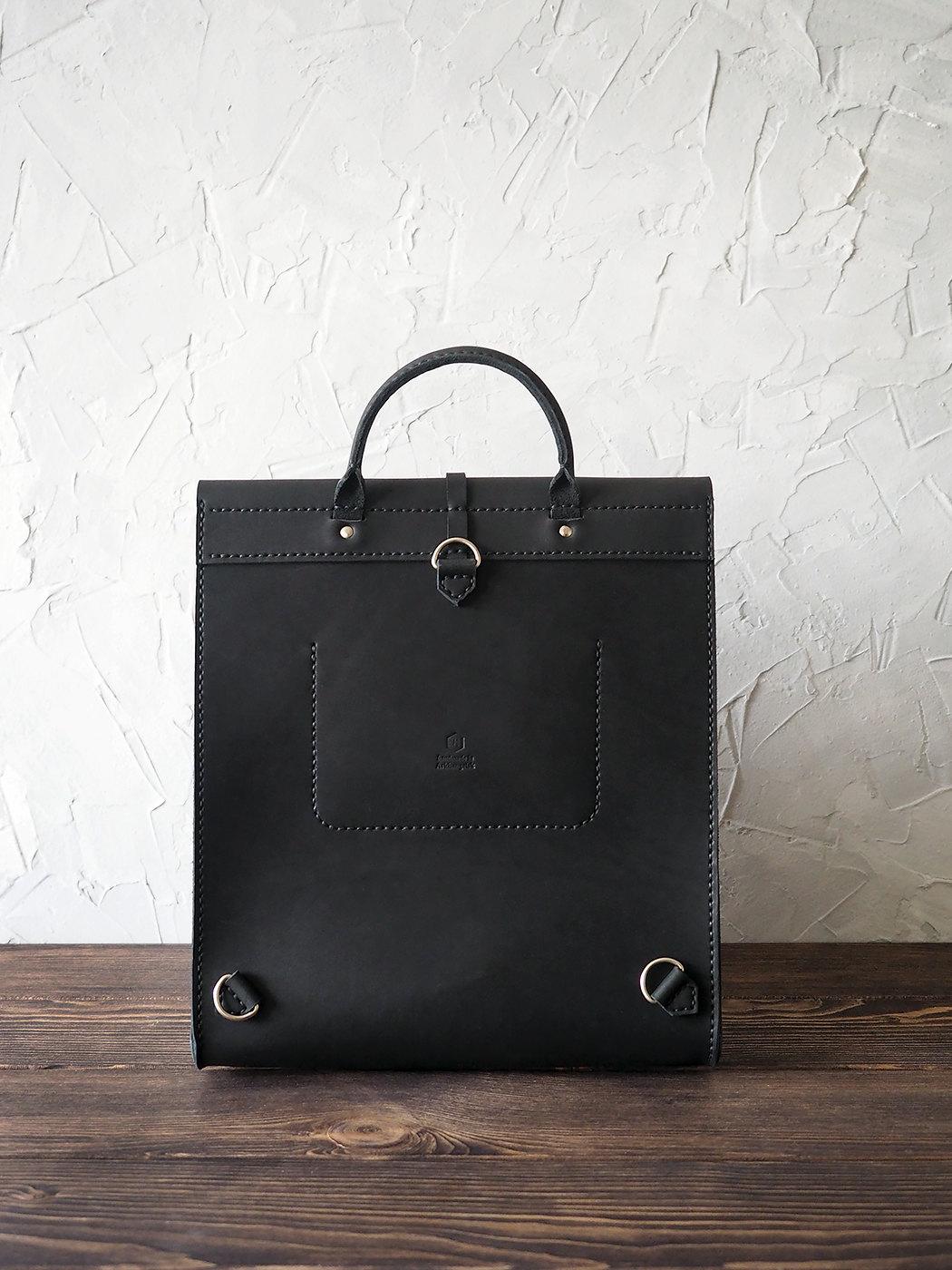 Leather backpack for women. Minimalist bag. Handmade genuine leather rucksack...