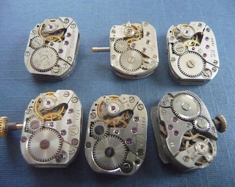 Set of 6 antique watch movement Steampunk crafting  Lot 104