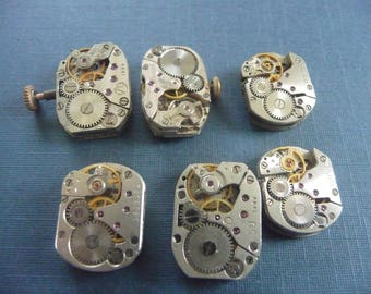 Set of 6 antique watch movement Steampunk crafting  Lot 102