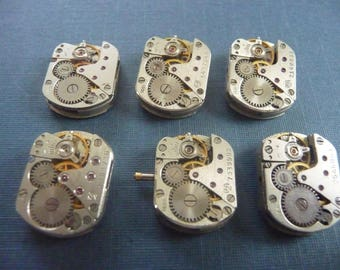 Set of 6 antique watch movement Steampunk crafting  Lot 100