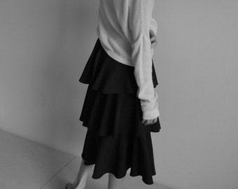 Tiered skirt - black bohemian style tiered ruffle skirt