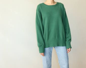 Jungle Sweater- Mink Cashmere Sweater in Lush Green