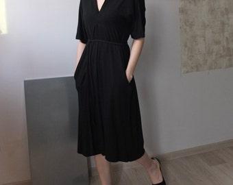 Modal /tencel blend 1/2 sleeve v-neck dress with self-tie belt