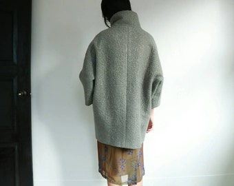 Bouclé wool cocoon coat (Other colours available)