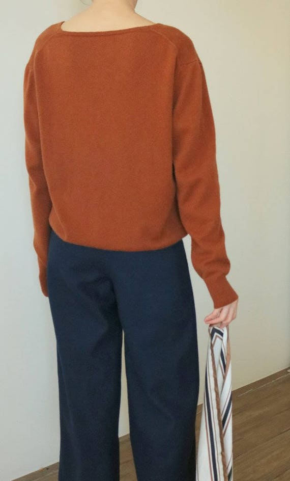 Tennessee Sweater relaxed fit rust terracotta cashmere wool blend V neck sweater