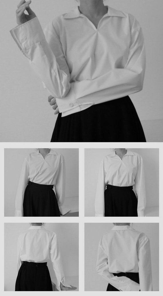 REY SHIRT (made with Italian shirting fabric) Minimalist V neck white shirt