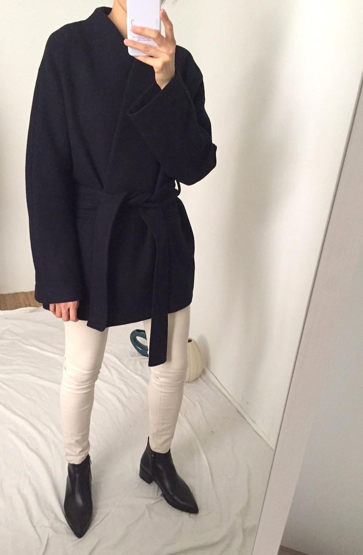 Ishiji Kimono Coat minimalist open-front cropped kimono wrap wool coat more colours available