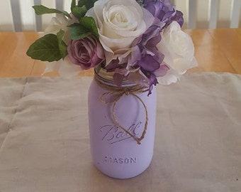 Lilac mason jar centerpiece