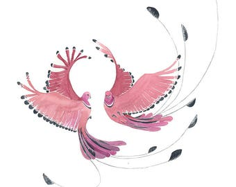 Dancing birds giclee print of original watercolor painting by Laila Page on recycled watercolor paper.