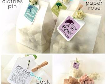 DIY KIT - Bridal Shower Favors - Mini Sugar Scrubs - Unique Frosted Favor Bags, Paper Rose & Mini Clothespin