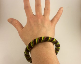 Vintage 1970s Beaded Crochet Rope Bangle in African Colours