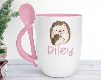 Personalised Pink mug with spoon, Cute Woodland Hedgehog, Luxury Ceramic mug perfect for hot chocolate with a spoon