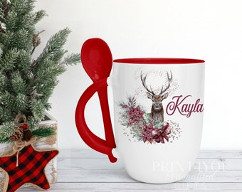 Personalised Red mug with spoon, Deer Reindeer with Flowers Name, Luxury Ceramic mug perfect for hot chocolate with a spoon