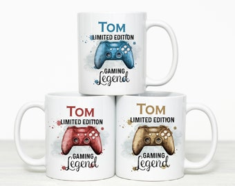 Blue Gaming Gamer Controller, Personalised Gift Mug, Limited edition Design Controller