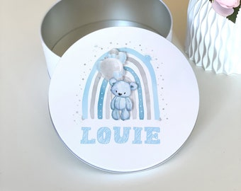 Blue Teddy Bear with Balloon and Rainbow Personalised Round White Biscuit Tin - New Baby 1st Birthday