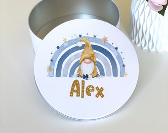 Blue and Gold Xmas Gnome and Rainbow Personalised Round White Biscuit Tin