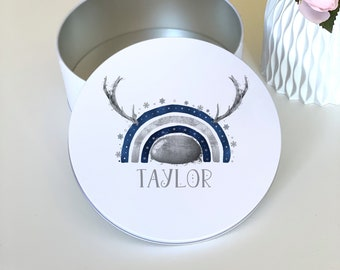 Navy and Silver Reindeer Rainbow with Antlers and Nose Personalised Round White Biscuit Tin - Christmas Cookies and Cakes