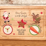 Christmas Eve Santa treat wooden Board plate, Design 3, personalised,  Christmas Eve Gift Family Tradition