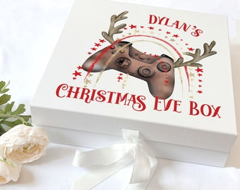 Personalised Keepsake Box with ribbon tie front - Brown Xmas Gaming Controller with Antlers, Christmas Eve Box, Gift Box