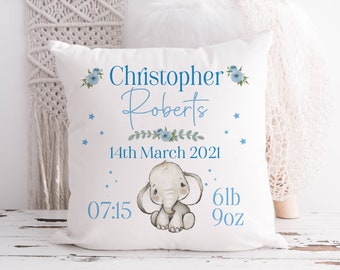 Boys blue Stats Safari Elephant | New Baby Present | Personalised Children's Cushion | Pillow Gift with insert