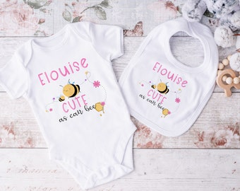 Personalised Baby and Toddler white Body suit and vest, New Baby Gift Set, Girls Pink Cute as can Bee set