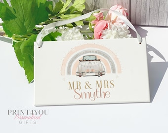 Wedding Car Personalised Sign Plaque, Wedding Day Gift, Mr and Mrs, Vintage Car Sign
