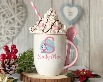 Personalised Pink mug with spoon, Unicorn Initial Christmas, Luxury Ceramic mug perfect for hot chocolate with a spoon