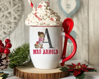 Personalised Red mug with spoon, Female Teacher Thank you gift, Luxury Ceramic mug perfect for hot chocolate with a spoon