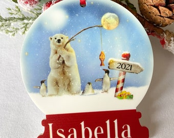 Personalised acrylic Snow globe hanging Christmas Tree Decoration Bauble Gift for any occasion - Artic Polar Bear and Penguin