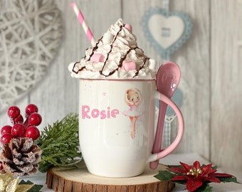 Personalised Pink mug with spoon, Cute Ballerina Dancer, Luxury Ceramic mug perfect for hot chocolate with a spoon