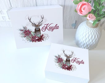 Deer Reindeer with Flowers  personalised gift box present magnetic closed white Xmas Gift Box