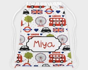 Personalised School PE / Gym / Swim Bag, Back to School kids drawstring bag, Water resistant bag, London Cab Bus Taxi School Bag