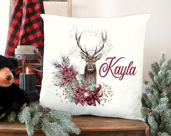 Deer with Flowers Reindeer Christmas Personalised Children's Cushion Pillow Gift with insert