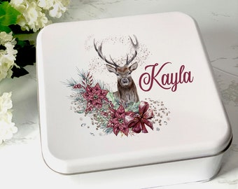 Deer and Flowers Reindeer Personalised white square biscuit tin