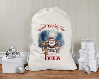 personalised Santa Sack, Xmas Toy Sack, Gift from Santa -  Father Christmas Elf and Reindeer Santa Special Delivery