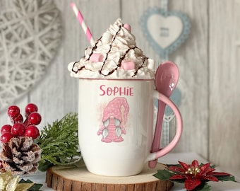 Personalised Pink mug with spoon, Pink Xmas Gnome, Christmas, Luxury Ceramic mug perfect for hot chocolate with a spoon