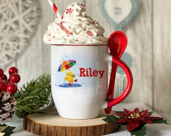 Personalised Red mug with spoon, Duck splashing in a puddle, Luxury Ceramic mug perfect for hot chocolate with a spoon