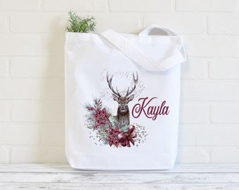 Deer with Flowers Reindeer Cotton Tote Bag | Reusable Shopping Bag | 100% White Cotton Bag | Digitally Printed | Personalised shopper